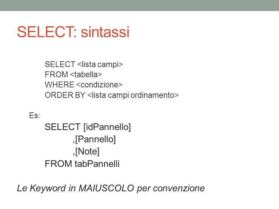 SELECT: sintassi SELECT [idPannello] ,[Pannello] ,[Note]